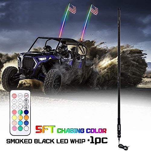 LED RGB Dancing Whip Lights with Remote Control FOR ATV UTV RZR 4WD 4FT Single Whip