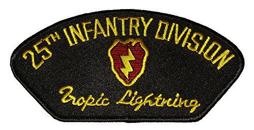 - 25TH INFANTRY DIVISION Tropic Lightning With Crest PATCH - Gold and Red on Black Background - Veteran Owned Business