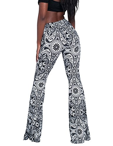 a377a5ffd92387 PinkWind Girl Fall Black and White Printed Loose Fit Flared Wide Leg  Leggings S