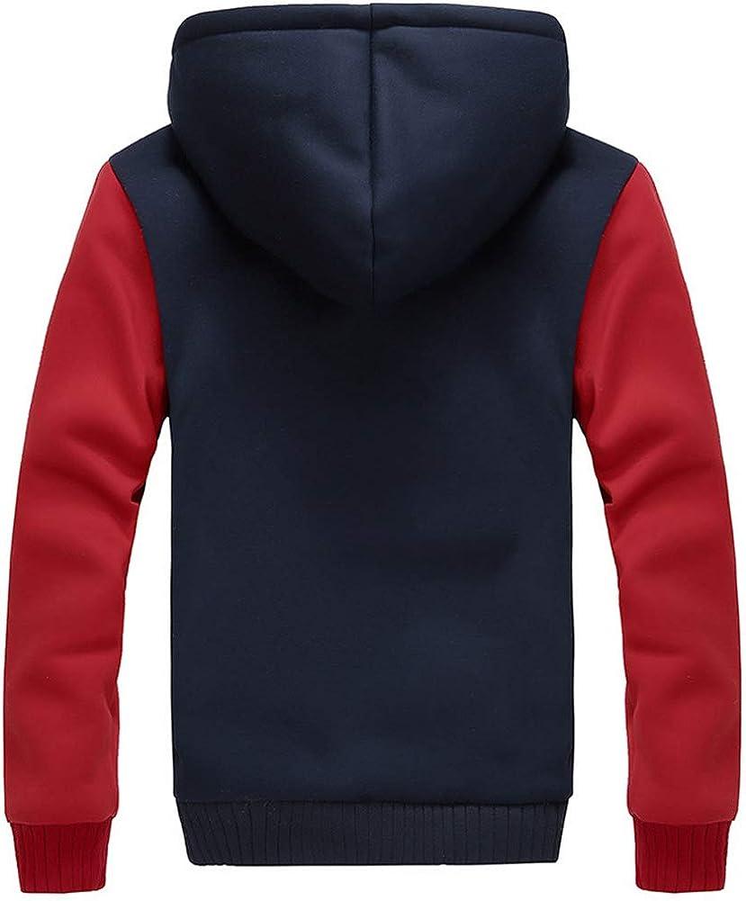 Mens Fleece Thick Pullover Winter Jackets Hooded Hoodies Sweatshirt Wool Warm Sports Coats