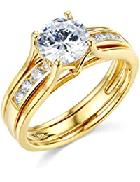 14k yellow or white gold solid engagement ring wedding band set - Yellow Gold Wedding Ring Sets