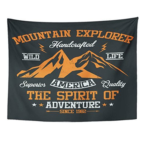 Breezat Tapestry Adventure Mountain Explorer America Wild Life Graphics Authentic Home Decor Wall Hanging for Living Room Bedroom Dorm 60x80 Inches - Everest Black Ribbon