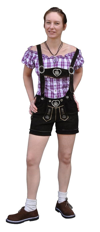 Damen Trachtenlederhose Kurzhose Trachtenhose mit Träger Echt Leder Braun- Sarah