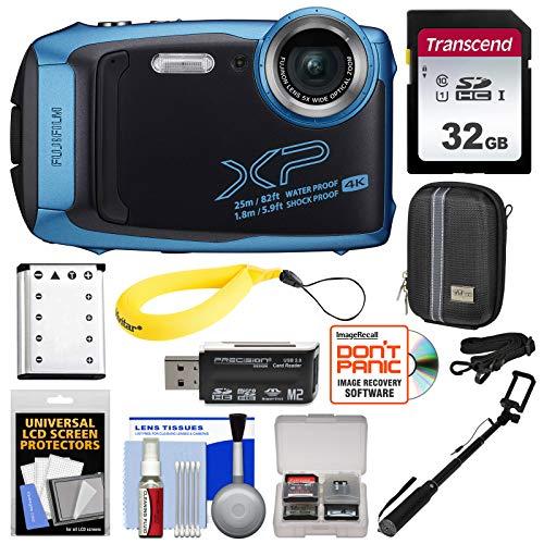 Fujifilm FinePix XP140 Shock & Waterproof Wi-Fi Digital Camera (Sky Blue) with 32GB + Battery + Case + Selfie Stick + Kit (Fujifilm 16gb Sdhc Class 10 Memory Card)