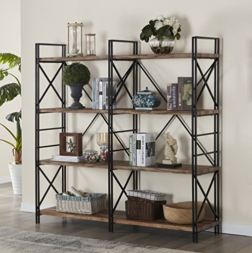 4 Shelf Double Bookcase - Homissue 4 Shelf Industrial Double Bookcase and Book Shelves, Storage Rack Display Stand, Etagere Bookshelf with Open 8 Shelf, Retro Brown, 64.2-Inch Height