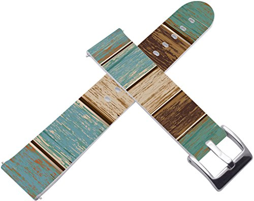 22mm Watch Band & 22mm Leather Watch Strap for Zenwatch 1/2 1.63 Vintage Wood Print for Samsung Gear S3 Classic/Frontier/for Galaxy Watch 46mm/for Pebble -