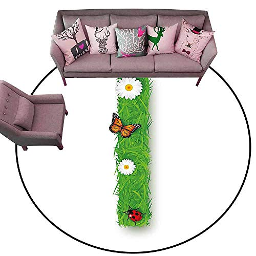 Door Mat Living Room Non-Slip Letter I,Grass Letters with Floral Butterfly Refreshing Writing Nursery Daisy Print,Green Multicolor Diameter 66