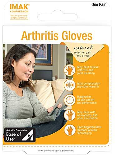 IMAK Compression Arthritis Gloves,Pair, Grey, Large
