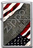 Zippo American Flag with Steel Background Made In USA Street Chrome Lighter NEW offers