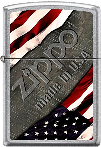 Zippo American Flag with Steel Background Made In USA Street Chrome Lighter ()