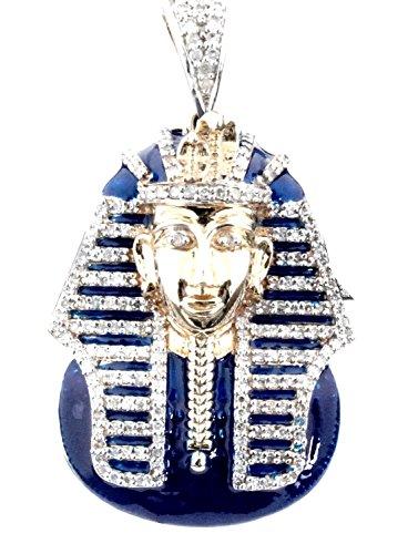 (10K Gold Diamond Pendant Mens Egyptian Pharoh Sphinx Charm 0.60 Real Diamond With Blue Enamel )