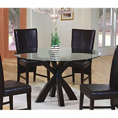 Coaster Top in Rich Cappuccino Dining Table with Round Glass