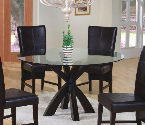 - Dining Table with Round Glass Top in Rich Cappuccino - Coaster