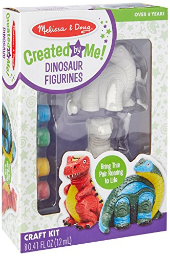 Melissa & Doug Decorate-Your-Own Dinosaur Figurines Craft Kit - Paint 2 Solid-Resin (Dinosaur Kit)