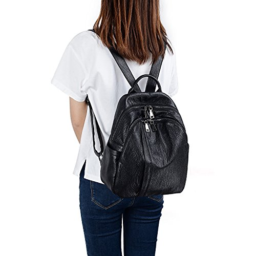 Bag Purse Black Women Leather Double PU Pockets Zipper Backpack UTO Shoulder Ladies Rucksack Washed w6OExd77q