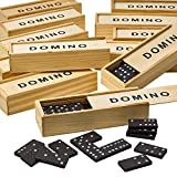 Kicko Wooden Dominoes Set - Pack of 12, Miniature Classic Board Games - Blocks, Educational Toys, Game Tiles, Leisure Time, Perfect for Teens and Adult