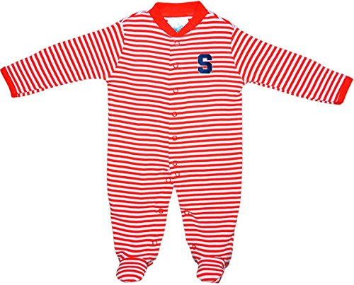 - Creative Knitwear Syracuse University Striped Footed Baby Romper Orange/White