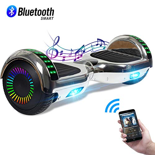 CBD Chrome Hoverboard for Kids, 6.5' Electric Self Balancing Scooter, Hoverboard with Bluetooth Speaker and LED Lights, UL 2272 Certified Hover Board, (Bluetooth Silver)