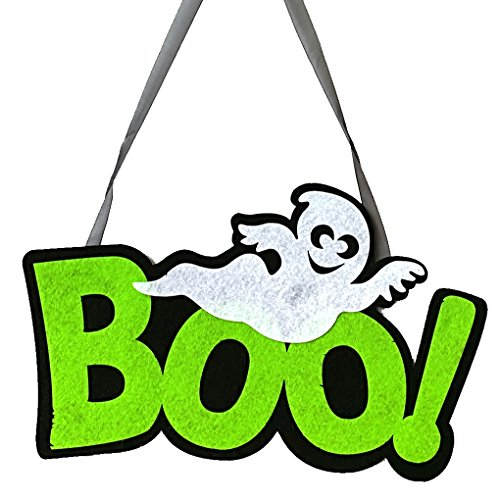 Chilie Spooky Ornament Party Club House Office Hanger Hanging Sign Halloween BOO Letter Pattern Ghost Decoration Plate