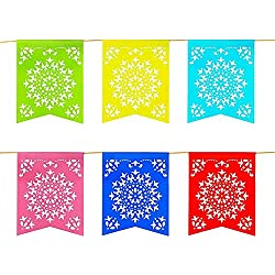 Super Z Outlet 12 Foot Long Rainbow Multicolored Flag Mexican Sun Del Sol Design Plastic Garland Drop Banner for Party Decorations, Birthdays, Event Supplies, Fiesta Festivals, Children & Adults