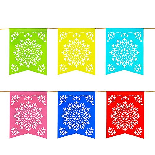 Super Z Outlet 12 Foot Long Rainbow Multicolored Flag Mexican Sun Del Sol Design Plastic Garland Drop Banner for Party Decorations, Birthdays, Event Supplies, Fiesta Festivals, Children & Adults]()