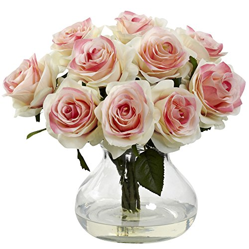 Nearly Natural 1367-LP Rose Arrangement with Vase, Light Pink]()