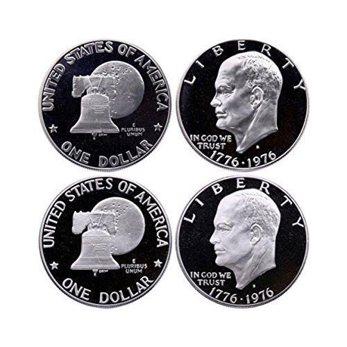 1976 S Eisenhower Dollar Type 1 & Type 2 Gem Deep Cameo CN Clad Proof 2 Coin Set Gen Deep Cameo 1976 Eisenhower Dollar Type