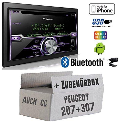 Peugeot 207 307 - Radio Pioneer FH-X720BT USB Bluetooth CD Autoradio Android iPod/iPhone-Direktsteuerung - Einbauset JUST SOUND best choice for caraudio Peu207_307_2D_FH-X720BT