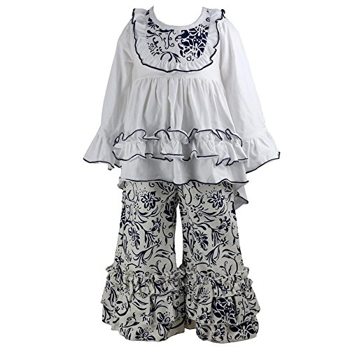Wennikids Girls Clothes Outfit Kids Ruffle Shirts Dress Boutique Bell Pants Set Large White -