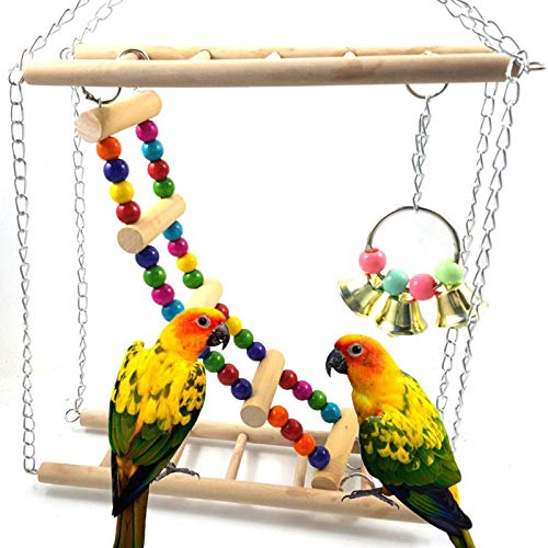 Bird Hamster Bridge Wood Swing Toys Small Pet Ladder Stand Platm, Small Wood Ladder - Wood Toys, Wooden Seesaw, Small Swings for Parakeets, Wood Climbing Toys, Bendable Plywood, Toy Swing by Bechamel