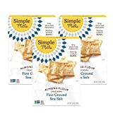 Simple Mills Almond Flour Crackers, Fine Ground Sea Salt, Gluten Free, Flax Seed, Sunflower Seeds, Corn Free, Good for Snacks, Made with whole foods, 3 Count