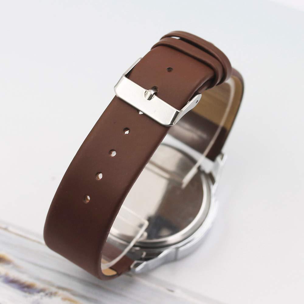 JiaMeng Pulsera del Reloj para Hombre Three Eye Watches Quartz Reloj para Hombre Belt de Moda(marrón): Amazon.es: Ropa y accesorios