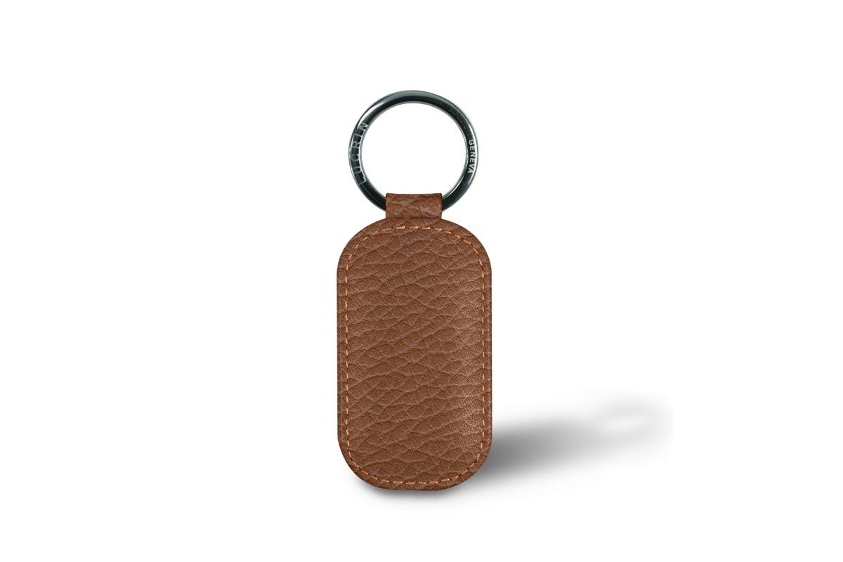 Lucrin - Round-Shaped Keys Holder - White - Granulated Leather