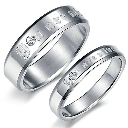 AnaZoz 2PCS Ring Set You are mine Stainless Steel Silver Anniversary Rings Cubic Zirconia Women Size 9 & Men Size 7 (Mine Silver Crown)