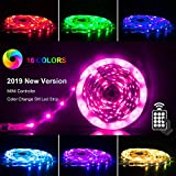 LED Strips Lights 5m [Newest 2019], RGB 5050 LEDs Colour Changing Kit with 24key Remote Control and Power Supply, Mood Lighting Led Strips for Home Kitchen Christmas Indoor Decora