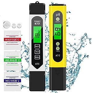 AIMTOP Misuratore PH, PH Tester, TDS EC Temperatura 4 in 1 Set Digitale Misuratore Portabile, Tester qualità Acqua Auto…