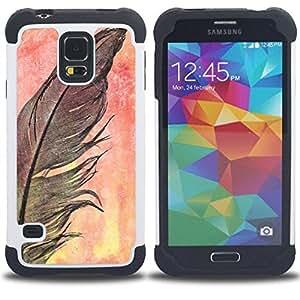 """SAMSUNG Galaxy S5 V / i9600 / SM-G900 - 3 en 1 impreso colorido de Altas Prestaciones PC Funda chaqueta Negro cubierta gel silicona suave (Cuervo Negro naturaleza de la acuarela"""")"""