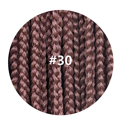 12-30 Inch Crochet Box Braids Hair Extensions Long Black Brown Burgundy Ombre Crochet Braids Kanekalon Synthetic Hair,#30,30inches,1Pcs/Lot ()