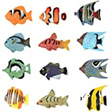 Fun Central (AZ918) 1.5 Inch Tropical Fish Figure Play Set - 2 packs of 12pc - Sea Creatures, Sea Animal Toys, Mini Plastic Fish, Fishing Toy, Toy Animal Figure, Toys For Kids, Bathtub Toys