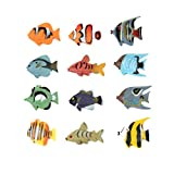 small plastic fish - Fun Central AZ918 2 Packs of 12 pieces 1.5 Inch Tropical Fish Figure Play Set, Assorted Plastic Fish Toys, Sea Animals Toys For Kids