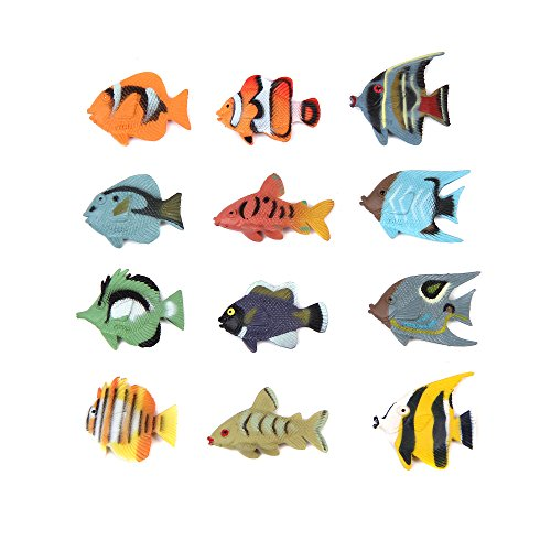 Fun Central (AZ918) 1.5 Inch Tropical Fish Figure Play Set - 2 packs of 12pc - Sea Creatures, Sea Animal Toys, Mini Plastic Fish, Fishing Toy, Toy Animal Figure, Toys For Kids, Bathtub Toys (Fish Plastic Tropical)