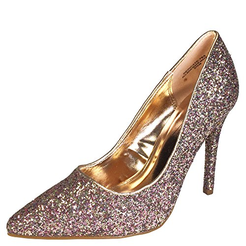 Anne Michelle Women's Pointy-Toe Dress Heel Plain Pump In Glitter, Blush Glitter, 8.0 B (M) (Plain Womens Pumps)
