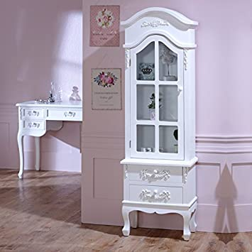 Melody Maison Antique White Tall Display Cabinet Drawers Pays