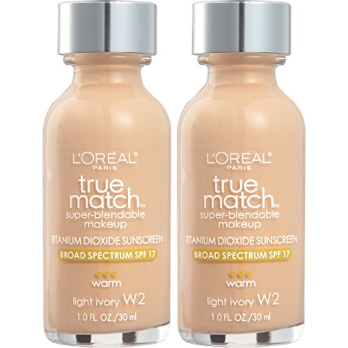 L'Oreal Paris Cosmetics True Match Super-Blendable Foundation Makeup, Light Ivory W2, 2 Count
