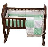 BabyDoll Baby King & Queen Cradle Bedding, Green, 15'' x 33''