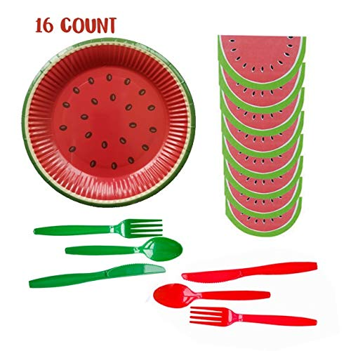 Inno-Huntz Watermelon Plates Napkins Party Supplies Paper Tableware Fiesta Serves 16 7″Disposable Forks Spoons Cutlery Fruit Theme Summer Baby 1st Birthday Tableware Decorations