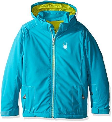 (Spyder Girls Glam Jacket, Size 10, Bluebird/Harmony Bluebird Print/Acid)