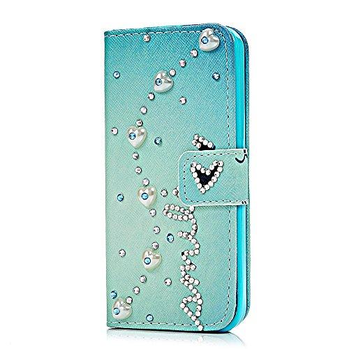 Mavis's Diary Schutzhülle Ledertasche iPhone 5C Hülle Tasche Etui Bling Shining Glanz Design Handyhülle mit Standfuß Halterung, Kreditkarten Steckplätze und ID Stand Halter PU Flip Cover Case (Liebe S