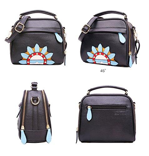 black Black Leather Casual Cross Shoulder Fashion Bag Classic Printing Handbag Onesize Black Ladies Renhong Shoulder Bag WF6nx80qq