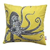 Monkeysell Super Soft White Flannel Fabrics Square Decorative Fashion Throw Pillow Cover Cushion Fish Octopus attern digital printing pillow cases 18 'X18 (Octopus)